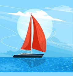 Sailing ship banner in cartoon style vector