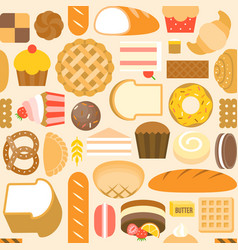 seamless pattern bakery product vector image