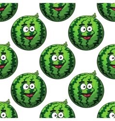 Seamless pattern of cartoon watermelons vector