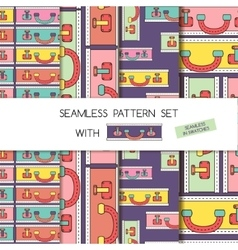 Seamless pattern set of bags and suitcases vector image