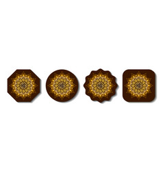 set decorative coasters for table ornate vector image
