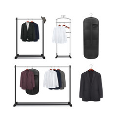 set of clothes racks vector image