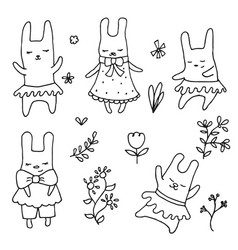 Set of cute little cartoon hares set of cute vector