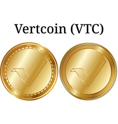 Set of physical golden coin vertcoin vtc vector