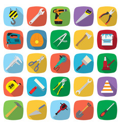 set of twenty five colored flat style tools icons vector image