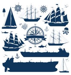 Set sailing ships yachts and tankers vector