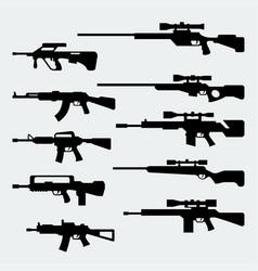 Set silhouettes modern assault and sniper vector