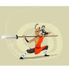 Shaolin warrior monk vector