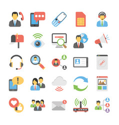 social connections flat icons vector image