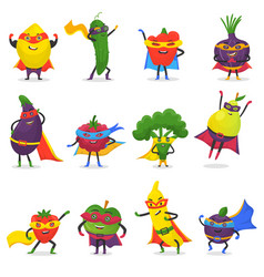 Superhero fruits fruity cartoon character vector