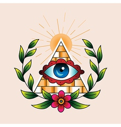 tattoo pyramid vector image