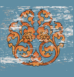Thai art flora pattern vector