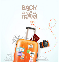 Travel with travel staff and logo vector
