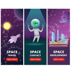 Vertical banners with pictures of space vector