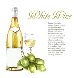 Watercolor wine design elements vector image vector image