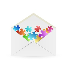 white envelope with puzzle pieces vector image