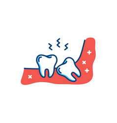 Wisdom tooth icon or third molar toothache jaw vector