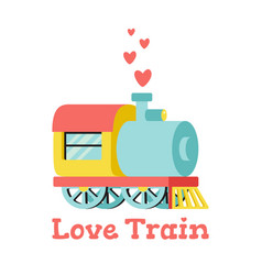 With locomotive and hearts vector