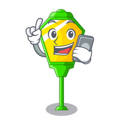 With phone lamps post collection in a cartoon vector