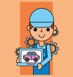 Worker holding tablet car service maintenance app vector