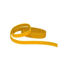 Yellow sewing tape measure instrument for vector