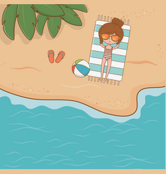 young girl on beach airview scene vector image