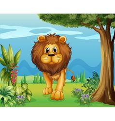 A big lion in the garden vector