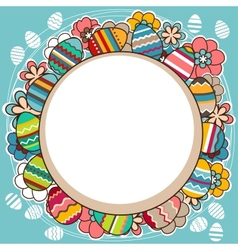 Bright frame with easter eggs and spring flowers vector image vector image