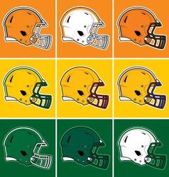 Colored football helmets in orange yellow green vector image vector image