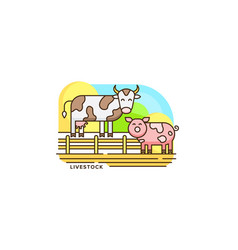 farm livestock line icon farming of vector image