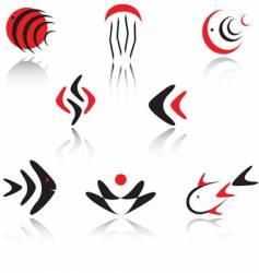 Fish logo design elements vector