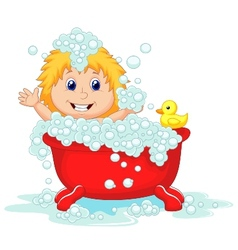 Girl cartoon bathing in the red bath tub vector image vector image
