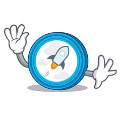waving stellar coin character cartoon vector image
