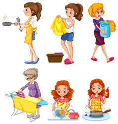 women doing different chores vector image vector image