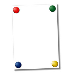 Blank a4 paper fixed with colored magnets vector