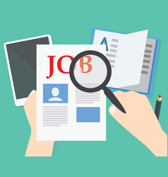 hands hold magnifier to find job in newspapers vector image