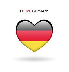 love germany symbol flag heart glossy icon on a vector image