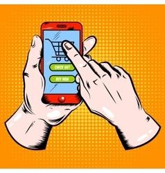 Online Shopping Pop Art Template vector image
