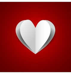 paper heart on red background vector image vector image