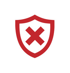 red unprotected shield icon on a white background vector image vector image