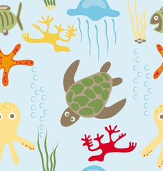 Sea animals pattern vector image