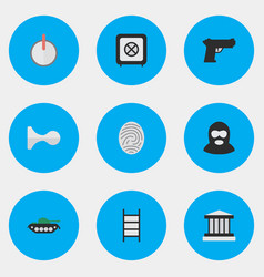 set of simple crime icons elements criminal vector image vector image