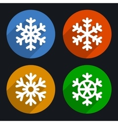 Snowflakes Flat Style Icons Set vector image