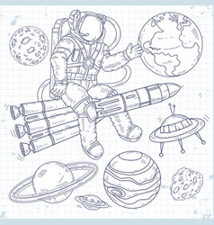 astronaut flying on a rocket and waving his vector image