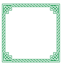 Celtic green frame border pattern - vector image