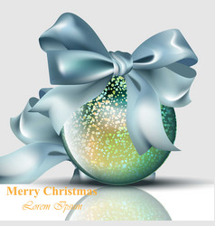 christmas ball with bow shiny card merry vector image vector image
