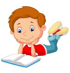 Cute boy cartoon reading book vector image