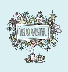 hello winter pastel vector image