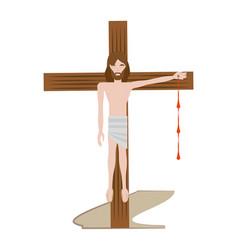 jesus christ nailed the cross - via crucis vector image