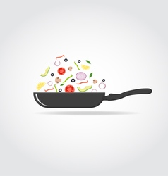 Pan with colorful vegetables vector image vector image